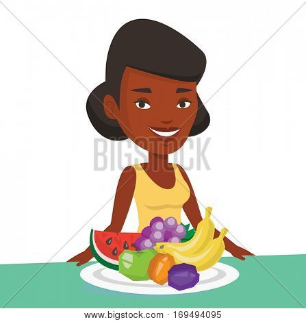 African-american woman with plate full of fruits. Woman standing in front of table full of fresh fruits. Woman eating fresh healthy fruits. Vector flat design illustration isolated on white background