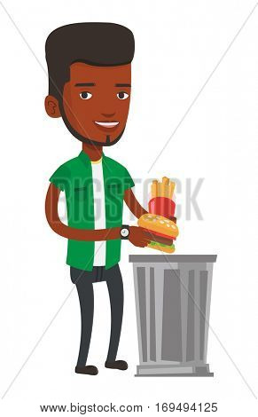 African-american young man putting junk food into a trash bin. Man refusing to eat junk food. Man throwing away junk food. Diet concept. Vector flat design illustration isolated on white background.