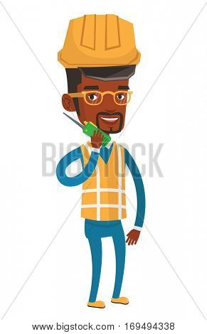 African-american port worker in hard hat talking on wireless radio. Smiling port worker in helmet using wireless radio. Vector flat design illustration isolated on white background.