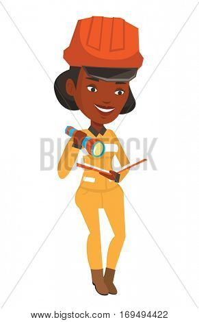 An african-american smiling miner checking documents with the flashlight. Female mine worker in hard hat. Mine worker at work. Vector flat design illustration isolated on white background.