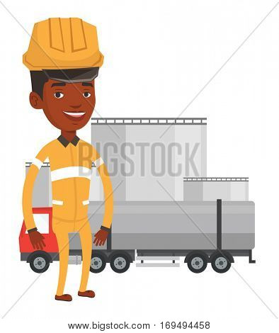 African-american refinery worker of oil and gas industry. Refinery worker in hard hat and uniform standing on the background of fuel truck. Vector flat design illustration isolated on white background