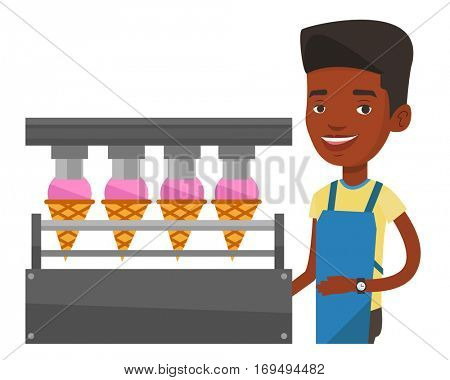 African worker of ice cream manufacture. Worker of factory producing ice-cream. Man working on automatic production line of ice cream. Vector flat design illustration isolated on white background.