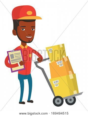 African-american delivery courier with clipboard. Delivery courier pushing cardboard boxes on trolley. Friendly worker of delivery service. Vector flat design illustration isolated on white background