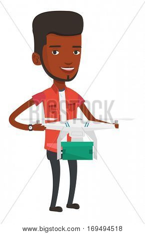 Man controlling delivery drone with post package. Man getting post package from delivery drone. Man sending parcel with delivery drone. Vector flat design illustration isolated on white background.