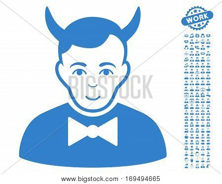 Devil pictograph with bonus people clip art. Vector illustration style is flat iconic cobalt symbols on white background.