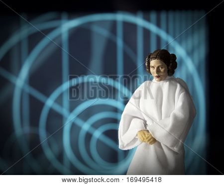 Recreation of the scene of Star Wars A New Hope of Princess Leia at the Rebel base on Yavin 4 awaiting the arrival of the Death Star - Hasbro Black Series 6 inch action figure
