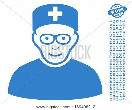 Medical Specialist pictograph with bonus people design elements. Vector illustration style is flat iconic cobalt symbols on white background.