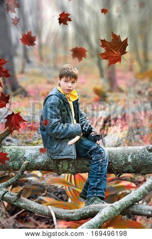 The boy sitting on a log in feral wood