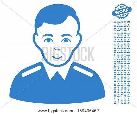 Officer icon with bonus avatar graphic icons. Vector illustration style is flat iconic cobalt symbols on white background.