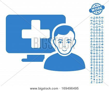 Online Medicine icon with bonus people design elements. Vector illustration style is flat iconic cobalt symbols on white background.
