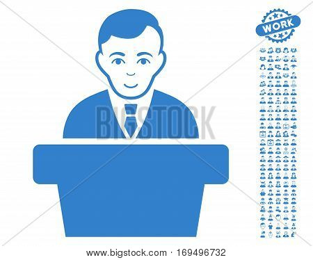 Politician pictograph with bonus occupation pictograms. Vector illustration style is flat iconic cobalt symbols on white background.