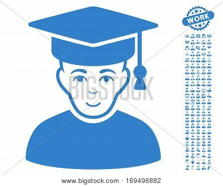 Professor pictograph with bonus occupation clip art. Vector illustration style is flat iconic cobalt symbols on white background.