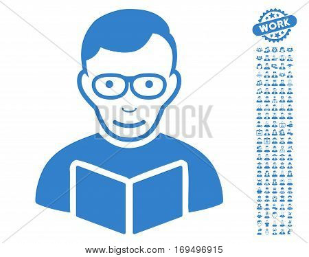 Reader pictograph with bonus people pictograms. Vector illustration style is flat iconic cobalt symbols on white background.