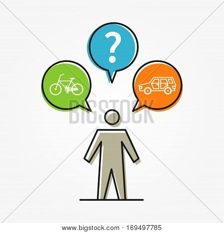 A person chooses between car and bicycle vector illustration. Creative concept of selection car or bicycle bike for transportation with question mark.