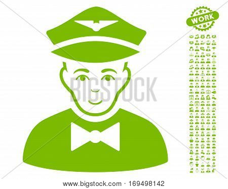 Airline Steward pictograph with bonus human symbols. Vector illustration style is flat iconic eco green symbols on white background.