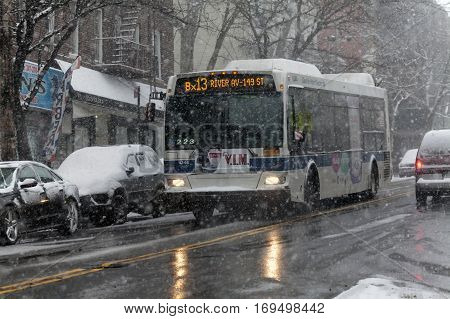 BRONX NEW YORK -JANUARY 7: Public bus in snow storm. Taken January 7 2017 in New York.