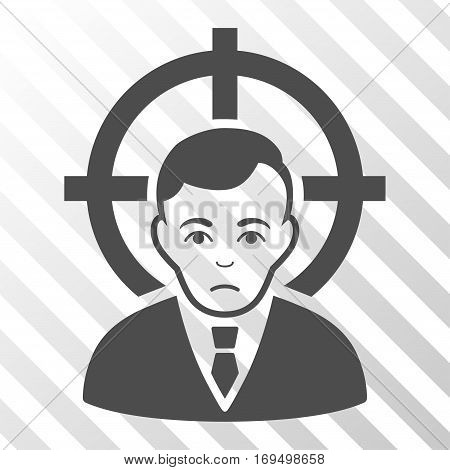 Gray Victim Businessman toolbar icon. Vector pictogram style is a flat symbol on diagonally hatched transparent background.