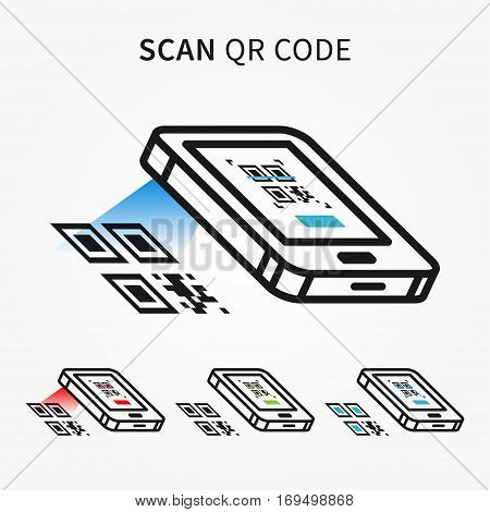 Scan QR code with smartphone vector illustration. Electronic technology to scan qrcode creative concept. Mobile scanner graphic design.