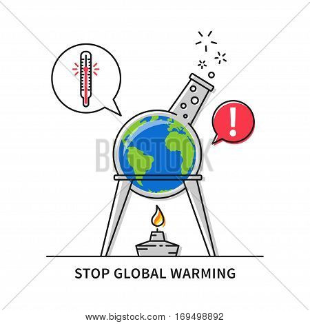 A globe inside of a retort with a spirit-lamp vector illustration. Global warming creative concept.