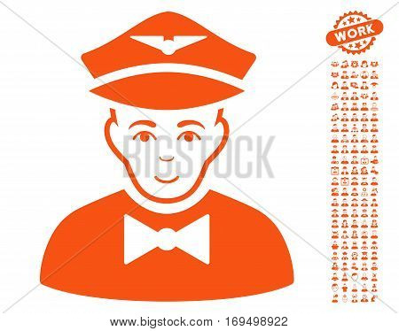 Airline Steward icon with bonus occupation pictures. Vector illustration style is flat iconic orange symbols on white background.