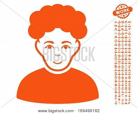 Brunet Man pictograph with bonus human pictograms. Vector illustration style is flat iconic orange symbols on white background.