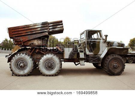 Museum exhibition of military machine, closeup