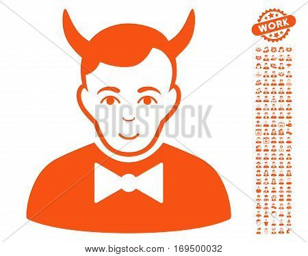 Devil pictograph with bonus people pictures. Vector illustration style is flat iconic orange symbols on white background.