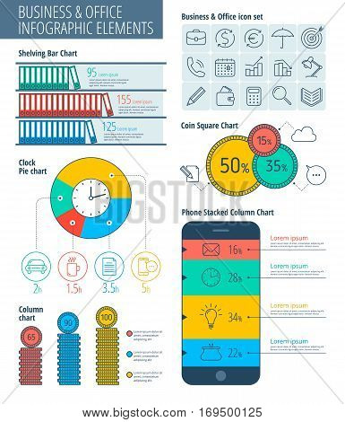 Infographic elements. Business infographic concept business icons infographic vector flat design template. Metaphor business charts and graphs vector infographic icons.