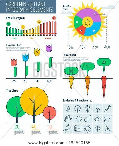 Infographic elements. Gardening infographic concept gardening icons infographic vector flat design template charts and graphs. Gardening tools garden furniture gardening icons infographic icons.