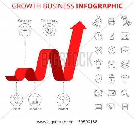 Infographic design template and isolated business icon set. Vector flat line infographic elements. Upward red arrow and icons depict process of increase business. Vector illustration of growth arrow