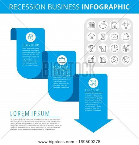 Infographic elements. Business design concept and isolated line icon set. Vector infographic icons recession business chart. Flat blue downward arrow and line icons. Process of decrease business