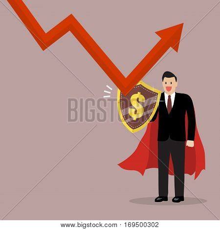 Businessman with shield protecting from graph down. Business concept
