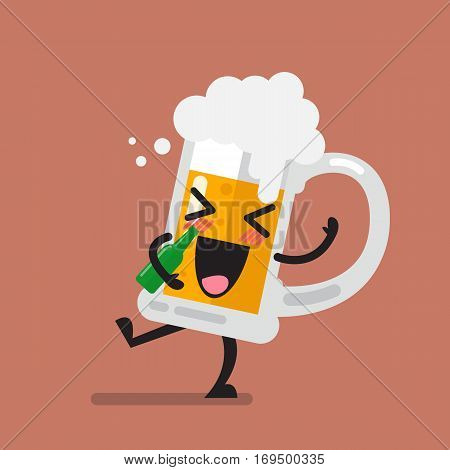 Funny drunk beer glass character. Vector illustration