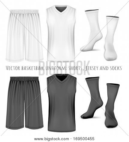 Basketball uniform: shorts, jersey and socks. Black and white variants of sport clothing.. Fully editable handmade mesh. Vector illustration of clothes.