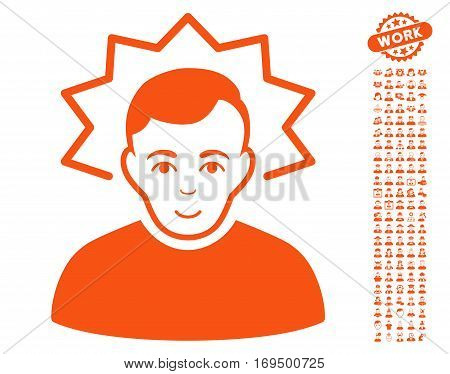 Inventor pictograph with bonus occupation pictograph collection. Vector illustration style is flat iconic orange symbols on white background.