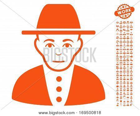 Jewish person pictograph with bonus human graphic icons. Vector illustration style is flat iconic orange symbols on white background.