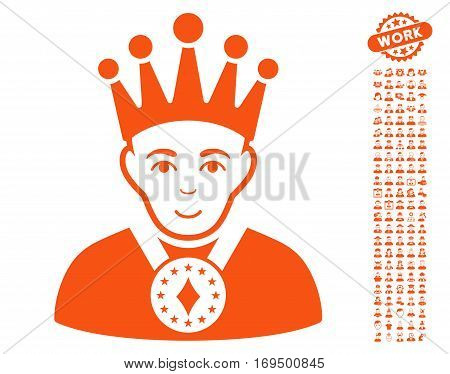 King pictograph with bonus human clip art. Vector illustration style is flat iconic orange symbols on white background.
