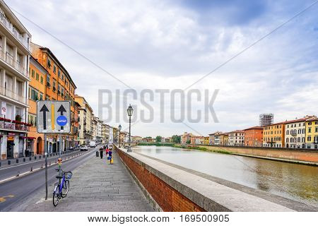 PISA, ITALY - July 24, 2016. street view of Old Town Pisa Tuscany, Italy, Europe, is a city in Tuscany, Central Italy, around 200,000 with the metropolitan area.