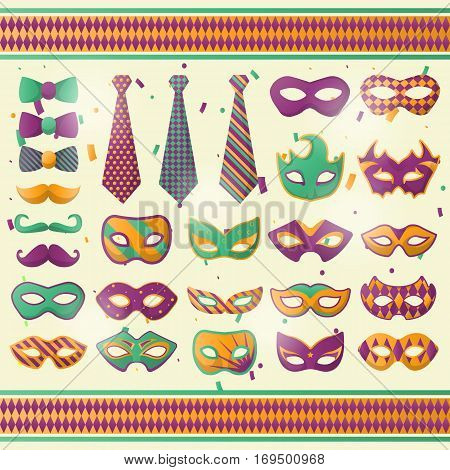Mardi Gras decoration wear accessories set of carnival mask, bow tie with harlequin pattern and masquerade mustache. Shrove Tuesday celebration dress or attire decoration details