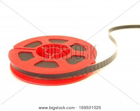 8 mm movie film reel / isolated white