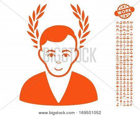 Man Glory icon with bonus occupation graphic icons. Vector illustration style is flat iconic orange symbols on white background.