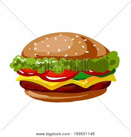 Cheeseburger or hamburger fast food flat vector icon. Isolated symbol of burger sandwich with sesame bun and cheese for fastfood takeaway or delivery menu