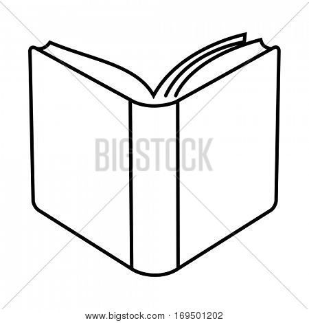 Open hard cover book minimal linear illustration