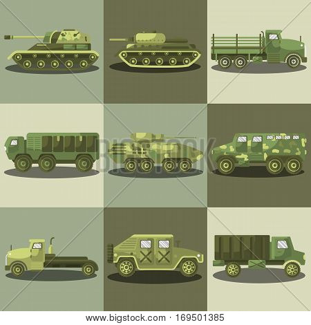 Military transport and army machine trucks or weapon tanks and armored camouflage car vehicles. Vector illustration
