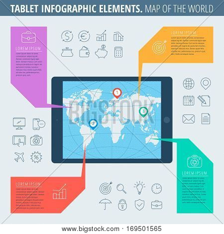Infographic elements and business icons set. Flat line illustration of tablet computer with a map of the world on the screen. Infographic vector flat design template infographic icons diagram map