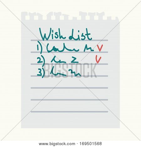 Paper page with check tasks or wish list notes. Vector isolated icon of notepad torn sheet