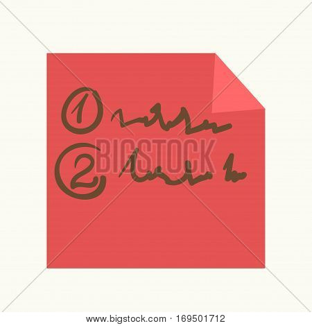 Sticky note or reminder with bent corner peel. Vector adhesive message memo vector icon