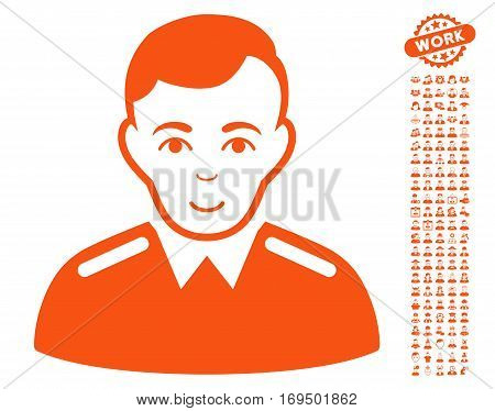 Officer pictograph with bonus people clip art. Vector illustration style is flat iconic orange symbols on white background.