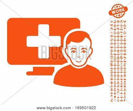 Online Medicine pictograph with bonus avatar icon set. Vector illustration style is flat iconic orange symbols on white background.