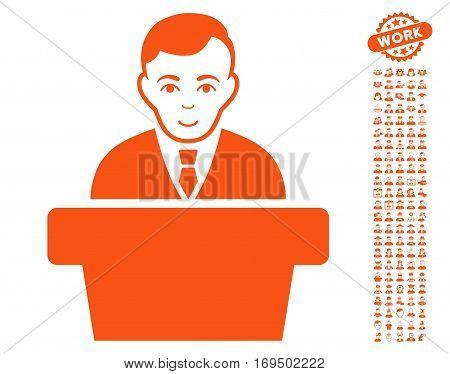 Politician icon with bonus avatar design elements. Vector illustration style is flat iconic orange symbols on white background.